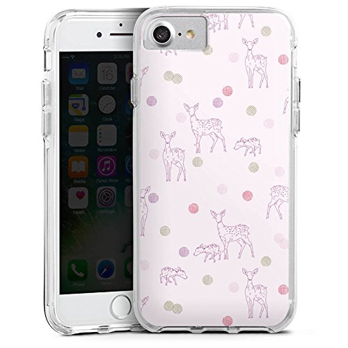 Apple iPhone 8 Bumper Hülle Bumper Case Glitzer Hülle Reh Deer Rose Bumper Case transparent