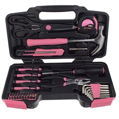 Smartfox 40 teilig Werkzeugset Werkzeugkoffer Werkzeugkasten Werkzeugbox Werkzeugkiste in Pink Rosa für Frauen Damen Lady perfekt als Einweihungsgeschenk & Einzugsgeschenk für Haus & Wohnung