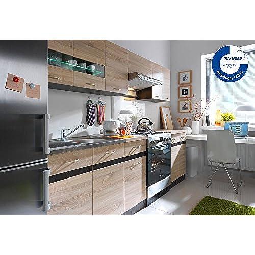 Küche 240cm von fiwodo erweiterbar günstig schnell einbauküche junona line set 240 4 fronten wählbar eiche eiche