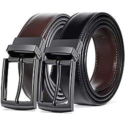 ITIEZY Hombres Cinturón de Cuero, 35MM de Ancho Cinturón Reversible Negro Marrón con Hebilla Giratoria