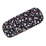 lumanuby 1pieza Gafas etuis, floral elegante, toalla de metal y material, tamaño: 16.5x 6.5x 3.5cm, negro, 16.5*6.5*3.5cm