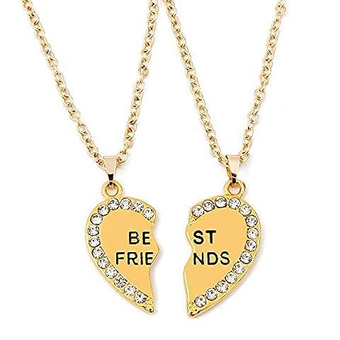 ISHOW BFF Best Friends Gold Rhinestone Heart-Shaped Broken Heart Pendant Necklace(2pcs)
