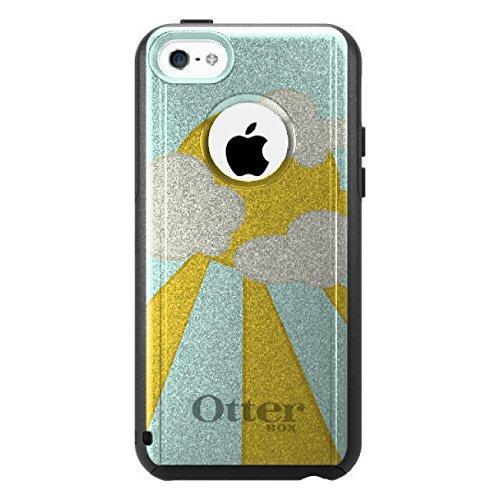 DistinctInk Fall für iPhone 5C Otterbox Commuter Gewohnheits-Fall Blau Gelb Sun-Himmel-Wolken auf Schwarz-Fall (5c Fällen Otter Box Blau)