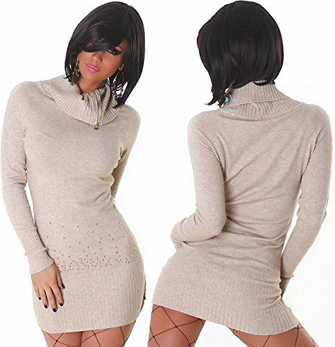 Jela London - Robe - Crayon - Uni - Manches Longues - Femme Beige