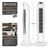 BRANDSON Turmventilator mit Fernbedinung | Säulenventilator inkl. Oszillation | 60W | 3 Geschwindigkeitsstufen (LOW/MEDIUM/HIGH) + Timer | LED-Display | leises Betriebsgeräusch | weiß