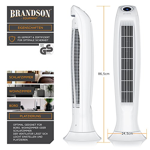 Brandson – Turmventilator mit Fernbedinung | Säulenventilator inkl. Oszillation | 86 cm | 60W | Ventilator mit 3 Geschwindigkeitsstufen Timer | LED-Display | leises Betriebsgeräusch | weiß kaufen  Bild 1*