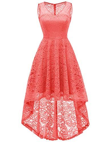 Dresstells Damen Spitzenkleid Sommerkleid V-Ausschnitt Unregelmässig Hi-Lo Festliche Kleider...