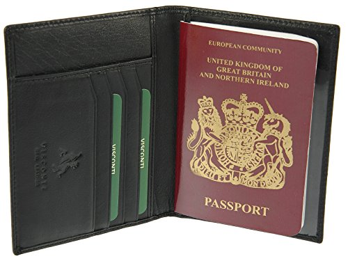 Visconti Genuine Leather Passport & Credit Card Holder Wallet Cover Case - 2201 (Black)