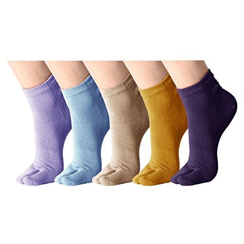Klassisches weiches elastisches Flipflop-Tabi-Zehe-Socken 5 Paare Mehrfarbig (C) (Klassische Flip-flop)