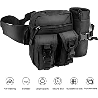 ELEPOWSTAR Tactical Waist Bag,Waterproof Military Waist Belt Utility Water Bottle Pouch Pack Bumbag for Trekking Hiking Walking Bike Cycling Climbing