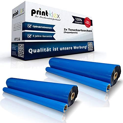 Print-Klex 2x Kompatible Thermorollen für Brother Fax 1030 Plus Fax 1030 Series Fax 1170 Fax 1270 Fax 1570 MC PC204RF PC 204 RF Farbband Nylonband Office Print Serie -
