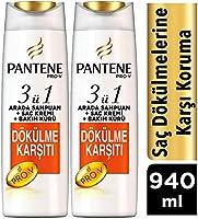 Pantene 3'ü 1 Arada Şampuan ve Saç Bakım Kremi Saç Dökülmelerine Karşı Etkili 2x470 ml