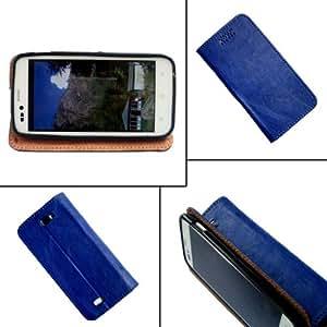 i-KitPit - PU Leather Flip Case Cover For Lava Xolo Q1000s (BLUE)