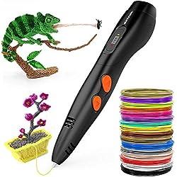 Pluma de impresión 3D, Meterk Inteligente Graffiti pen compatible con consumibles de PLA ABS 90-264 V con pantalla LCD Relleno de 16 filamentos de 1.75 mm para Impresión 3D Regalo para Niños y Adultos