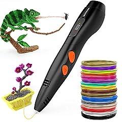 Idea Regalo - 3D Penna Stampa + PLA Fliament Set, Meterk 3D Stereoscopico Della Penna di Stampa Disegno di 3D Doodling Pittura + Modeling + Arts + Crafts Stampa,Compatibile con 1.75mm PLA/ABS Filaments Stampante