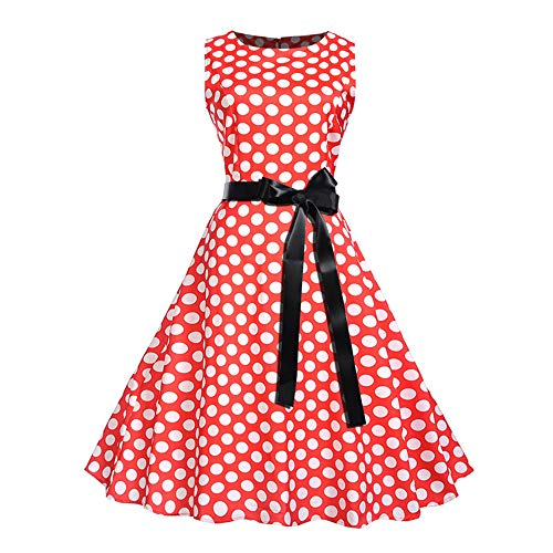 TWIFER Vintage Prinzessinenkleid Dot Gedruckt Cocktail O-Neck Bandage Party Aline Kleid