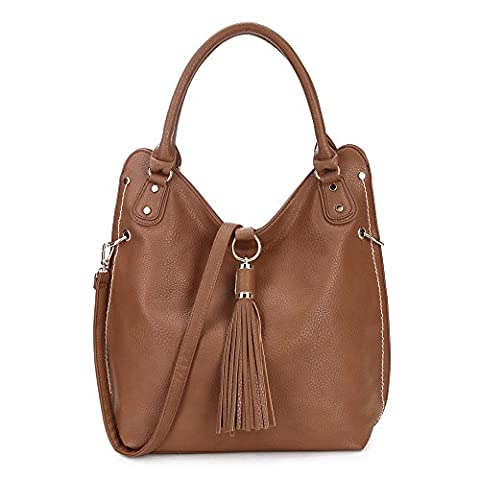 LS Ladies Designer Hobo Slouch Shoulder Bags Studded Tassel Handbags with Long Strap Fashion Square Top-Handle Grab Quilted Bags for Trip Large Leisure Teacher Shopper Bags PU Leather