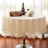 ZWL Tischdecke runde Tischdecke Stoff Tischdecke Spitze Spitze ovale Tischdecke runde Tee Tischdecke , Fügen Sie Vitalität in die Küche ( Farbe : Light Beige , größe : D150cm )