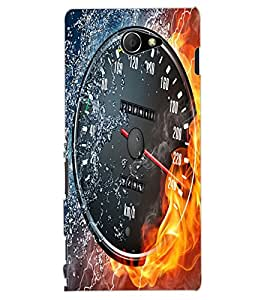 ColourCraft Water and Fire Speed Meter Design Back Case Cover for SONY XPERIA M2 DUAL D2302