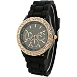 Fashion Silicone Golden Crystal Stone Quartz Ladies Jelly Wrist Watch Black