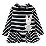 zycShang Niñito Niños Bebé Niña Bordado Conejo A rayas Princesa Vestir Conjuntos Ropa (100, Negro)
