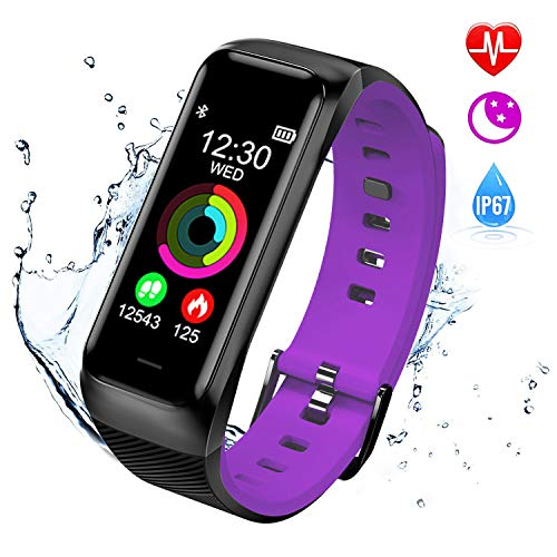 ISWIM Fitness Tracker, Orologio Fitness Pressione Sanguigna Cardiofrequenzimetro, Waterproof IP67 Smart Watch Activity Tracker Pedometro per iPhone Android iOS (Viola)