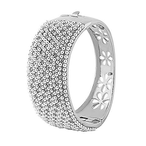 Yoursfs-Bracelet Femme Fille-14k plaqué Or blanc et Perle de culture-Cadeau Anniversaire Mariage Fête des mères