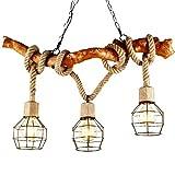 Liuqing Einstellbare Hanfseil Thema Kronleuchter Antikes Holz und Schwarz Eisenkäfig Lampenschirm Pendelleuchte Einfache DIY Design dekorative Deckenleuchte
