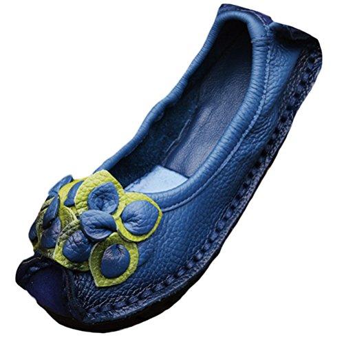 Vogstyle Femme Fleur en Cuir Slip-on style-4 bleu