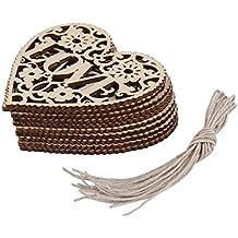 gespout Love Corazón Forma Madera Vintage Decoración Adornos Crafts–para Bodas y Fiestas de Cumpleaños Decoración 10pcs 80mm