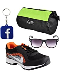Elligator NavyBlue & Yellow Sports Shoes With Gym Bag,Black Wayfarer Sunglass And Facebook KeyChain Combo (ELSH1440)