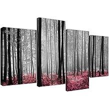 Cuadros en lienzo de color rosa bosque bosque árboles en blanco y negro para su dormitorio–4241–Wallfillers®