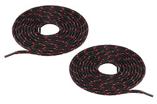 Chris Sol - Lacci per scarpe da lavoro e da trekking, in poliestere antistrappo, rotondi, diametro: circa 4 mm, Nero (Nero/rosso), 70 cm