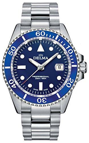 Delma Herren Sportuhr Quarz mit Edelstahlarmband blau 407062