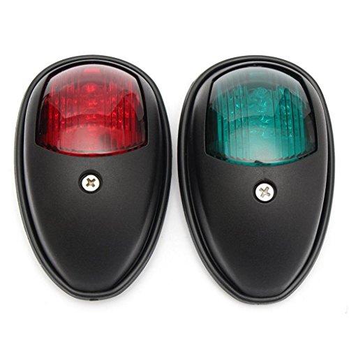 Sharplace 2X Bateau Rouge Vert LED Éclairage de Navigation Port Tribord Lumière Bateau - Noir