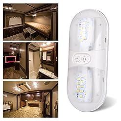 Kohree 3 x Luci Camper 12V 420LM Lampada da Soffitto con Due Interruttori Plafoniere Tettuccio Bianco Naturale 4000-4500K per auto/RV/Rimorchio/camper/barca[Classe di efficienza energetica A]
