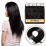 16'(40cm) Extensiones de Cabello Natural con Cinta Adhesiva 100% Remy Pelo Humano Liso Largo Tape in Hair Extensions 20 Unidades (50g,#1 Negro Intenso)