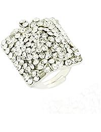 Dzinetrendz American Diamond (CZ) Studded Silver Plated Diamond Look-alike Hollywood Replica Fashion Ring For...