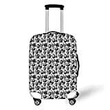 Travel Luggage Cover Suitcase Protector,Sport,Monochrome Trophy Baseball Glove Ping Pong Ball Sketch Style Bat Tournament Inspired,Black White,for Travel,L