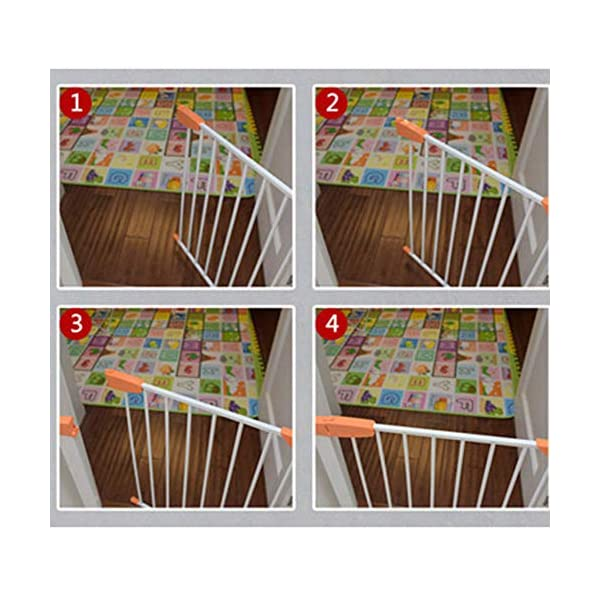 Pet fence safety door guardrail baby pole corridor stairs balcony cat and dog pet isolation gate AA-SS-Safety Door ♥Squeeze and lift handle for easy one handed adult opening ♥Quick-release fittings for removal when not required ♥Includes stop pins for mounting at the top of stairs 3