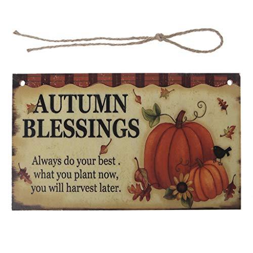 baoyl Autumn Blessings Holz Hängeschild Harvest Kürbis Thanksgiving Schild Home Party Ornament Dekor Neu