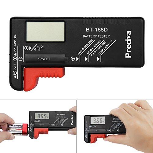 Tester batteria,Preciva Tester batteria digitale precisamente per batterie AAA, AA, C, D, 1.5V, 9V e Altri Tipi di Batterie, Ideale per Uso Domestico