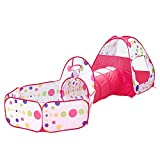 Pop Up Tent Game Tunnel & Ball Pool Easy Folding Play House Playground Toy House with Zip Storage Bag (3 in 1 red dot)
