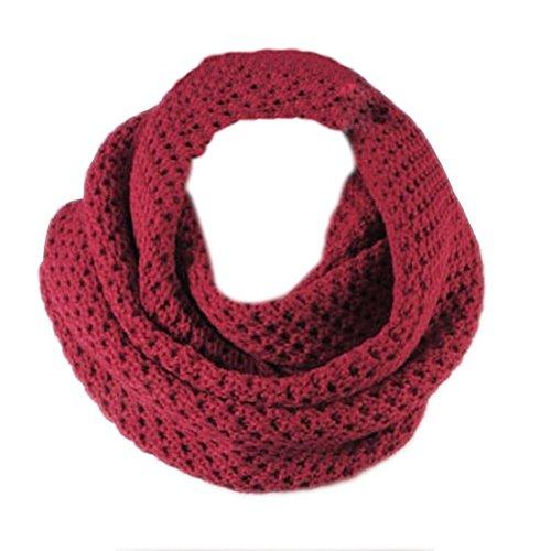 Winter Warm häkeln stricken lange Quasten weichen Wrap Schal Schals Schal, zwei Stile, Unendlichkeit und Straight (Wein rot) (Shemagh Wüste Schal)