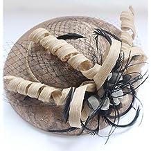 Novia retro sombrero plumas banquete accesorios vestido de novia , apricot