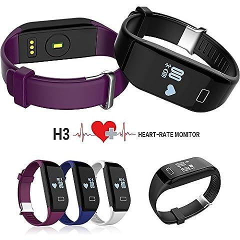 FANCY CHERRY® H3 Bluetooth Smart Sync Armband, Schrittzähler, Fitnessarmband mit Herzfrequenz Heart Rate Monitor, Kalorien Brennenwert, Schlaf-Monitor, Alarm erinnern, Anti-verlorene