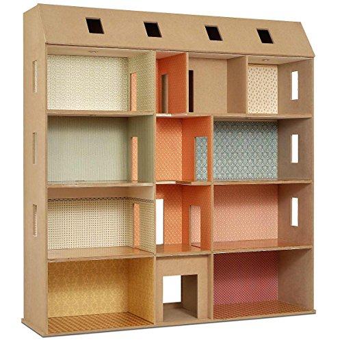 MiniMundus Mini MUNDUS 90350 - MDF Platten Bausatz für Das Puppenhaus Großes Stadthaus, naturholz