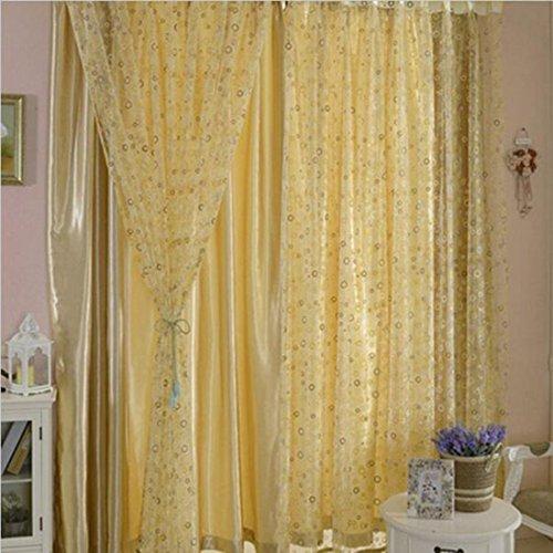 Netter Kreis Blase gedruckt Tüll Vorhangstoffe Schöne Sheer Panel Vorhang Gelb