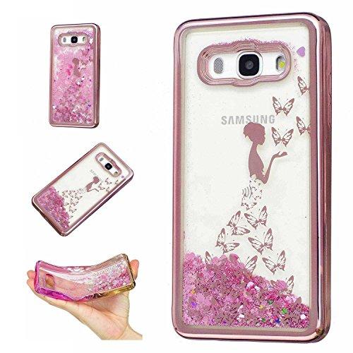Für Samsung Galaxy J5 (2016 Version , 5.2 zoll) J510 , YINPIN Hohe Qualität TPU Schutzhülle Bunt Glänzend Liquid Glitzernd Sand Stern Schutzhülle Case Cover Geprägt Schmetterlings Prinzessin