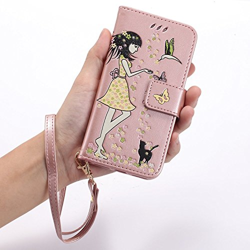 Etsue Leuchtende Nacht Leder Schutzhülle für iPhone 6s/iPhone 6 Butterfly Blume Lederhülle Flip Tasche Case Leder Flip Hülle, iPhone 6s/iPhone 6 Night Luminous Schmetterling Katze Luxus Vintage Handyh Katze,Rose Gold